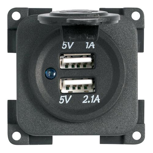 CBE Presa Alimentazione 2 USB da Incasso 12V per Camper Auto MP2USB